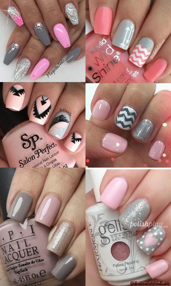 Ногти маникюр рисунок черный с розовым