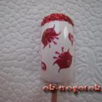Нарисовать цветок на ногтях иголкой