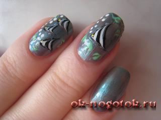 рисунок рыбка на ногтях иголкой