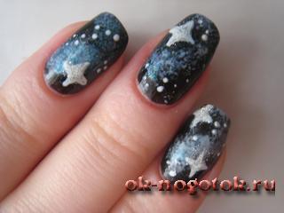 Все рисунок космос на ногтях готов