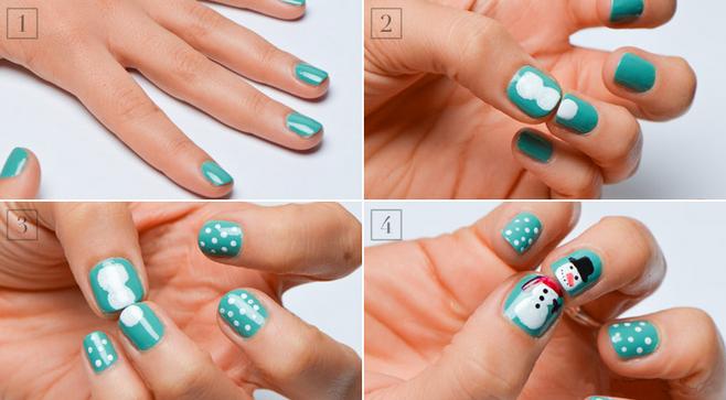 рисунок на ногтях снеговик
