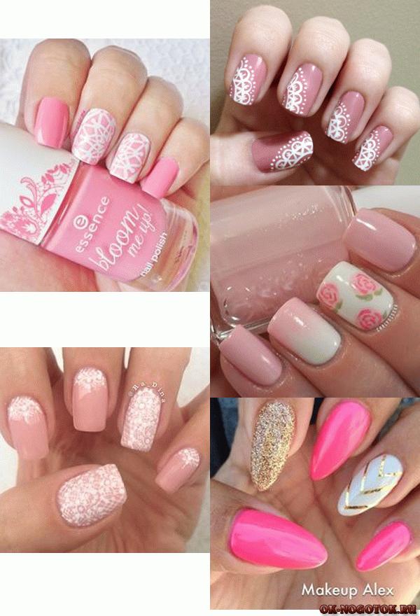 Маникюр розовые ногти фото