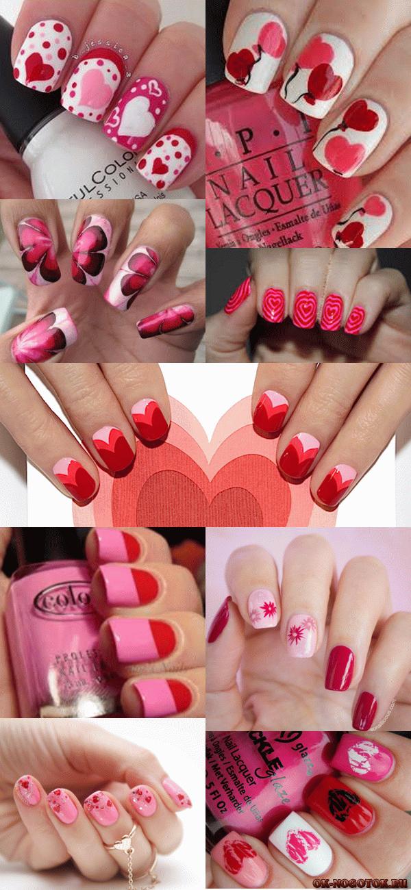красно-розовый маникюр фото