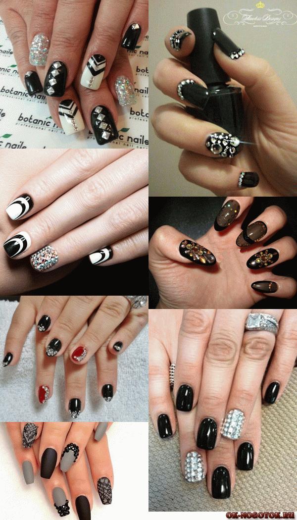 Черные рисунки на ногтях