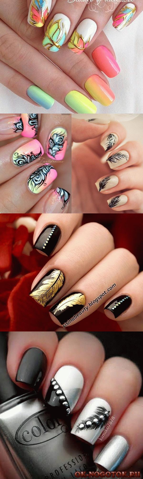 Дизайны ногтей с перьями фото