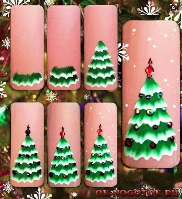 Новогодний дизайн ногтей гель лаками фото